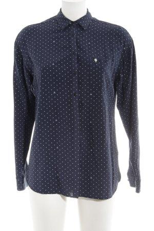 Gaastra Langarm-Bluse dunkelblau-weiß Motivdruck Casual-Look