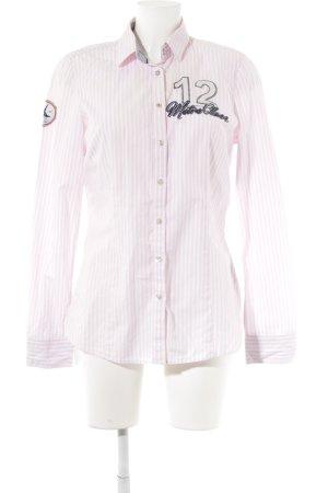 Gaastra Langarm-Bluse hellrosa-weiß Streifenmuster Logo-Applikation