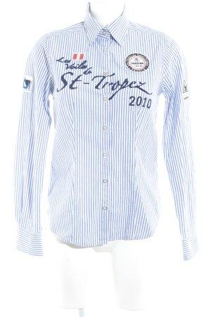Gaastra Langarm-Bluse weiß-blau Streifenmuster Casual-Look