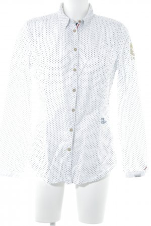 Gaastra Langarm-Bluse weiß-dunkelblau Punktemuster Business-Look