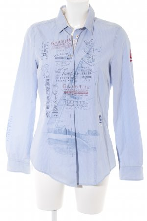 Gaastra Langarm-Bluse weiß-himmelblau Schriftzug gedruckt Casual-Look