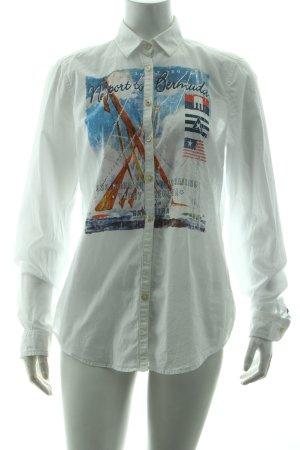 Gaastra Langarm-Bluse weiß Motivdruck Casual-Look