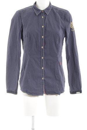 Gaastra Langarmhemd blau-weiß Punktemuster Casual-Look