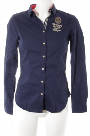 Gaastra Langarmhemd creme-dunkelblau Schriftzug gestickt Casual-Look