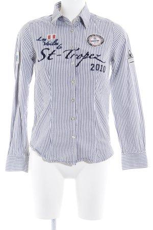 Gaastra Langarmhemd weiß-graublau Streifenmuster Casual-Look