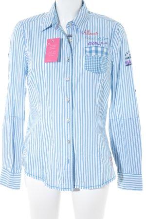 Gaastra Langarmhemd weiß-himmelblau Streifenmuster Casual-Look