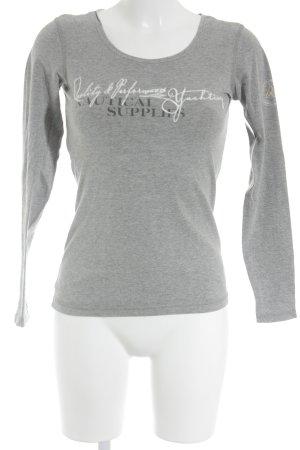 Gaastra Longshirt grau-weiß Schriftzug gedruckt schlichter Stil