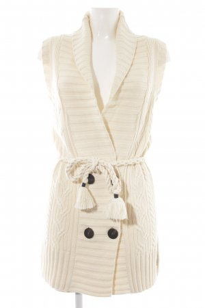Gaastra Long Knitted Vest cream cable stitch casual look