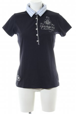 Gaastra Polo-Shirt blau-weiß Motivdruck Business-Look