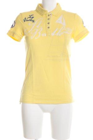 Gaastra Camiseta tipo polo amarillo pálido estampado temático look casual