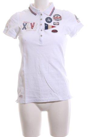 Gaastra Polo-Shirt weiß Schriftzug gedruckt Casual-Look
