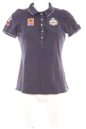 Gaastra Polo-Shirt dunkelblau Schriftzug gedruckt Casual-Look