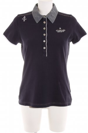 Gaastra Polo-Shirt dunkelblau Schriftzug gestickt College-Look