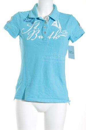 Gaastra Polo-Shirt hellblau Schriftzug gedruckt Casual-Look