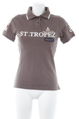 Gaastra Polo-Shirt hellbraun Schriftzug gedruckt sportlicher Stil