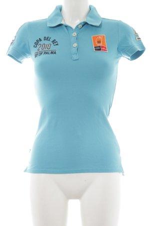 Gaastra Camiseta tipo polo azul celeste letras impresas look casual