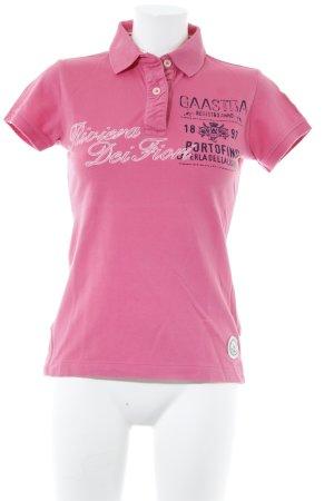 Gaastra Polo-Shirt magenta Schriftzug gedruckt sportlicher Stil
