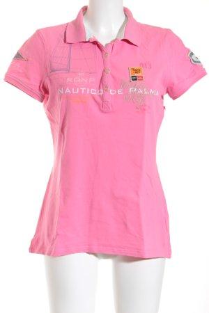 Gaastra Polo-Shirt pink Schriftzug gedruckt Casual-Look