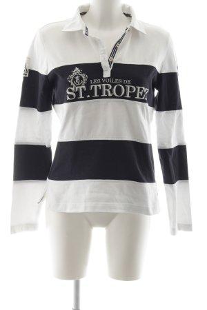 Gaastra Polo-Shirt weiß-dunkelblau Schriftzug gedruckt sportlicher Stil