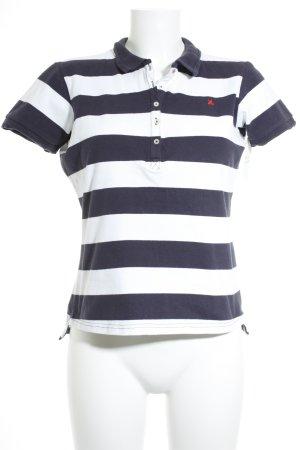 Gaastra Polo-Shirt weiß-dunkelblau Streifenmuster Casual-Look