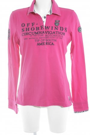 Gaastra Polo Top pink-dunkelblau Monogram-Muster Logo-Applikation