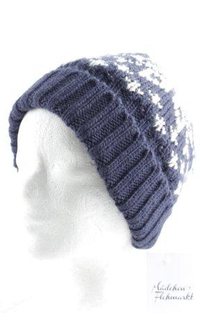 Gaastra Chapeau en tricot bleu foncé-blanc motif abstrait style décontracté