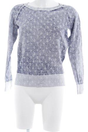 Gaastra Strickpullover weiß-dunkelblau Allover-Druck Casual-Look
