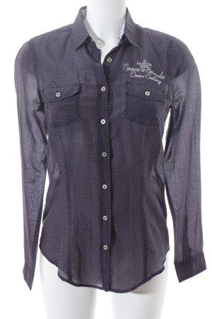 Gaastra Transparenz-Bluse dunkelgrau-weiß Punktemuster klassischer Stil