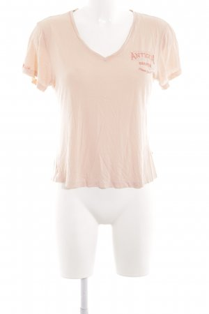 Gaastra V-Ausschnitt-Shirt nude Schriftzug gedruckt Casual-Look