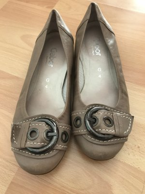 Gabor Patent Leather Ballerinas camel