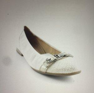Gabor Bailarinas de tira blanco puro-beige claro Cuero