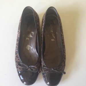 Gabor Patent Leather Ballerinas dark brown-brown leather