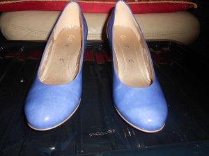 Gabor- blaue Lacklederpumps Gr. 37,5 (4 1/2) neuwertig