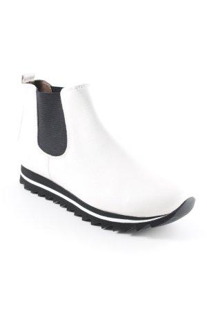 Gabor Stivale Chelsea bianco-nero stile da moda di strada