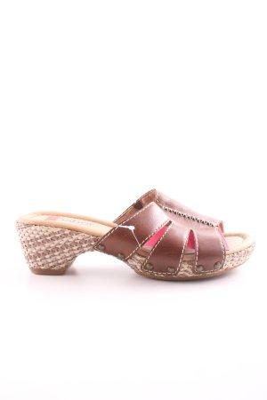 Gabor Comfort Absatz Pantoletten braun-creme Casual-Look