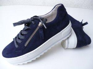 Gabor Comfort Leder Sneakers, Nubuk, Wechselfußbett, dunkles stahlblau, Gr. 38