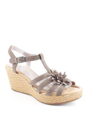 Gabor Comfort Platform High-Heeled Sandal grey brown flower pattern casual look