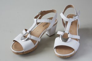 Gabor Platform Sandals white-silver-colored leather