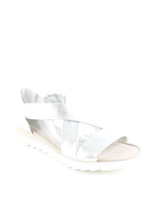 Gabor Comfort Riemchen-Sandaletten silberfarben-weiß Beach-Look