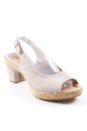 Gabor Comfort High-Heeled Toe-Post Sandals beige wooden look