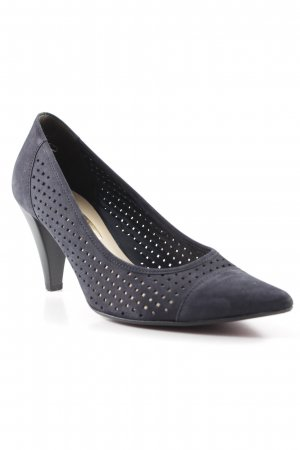 Gabor High-Front Pumps dark blue loosely knitted pattern business style