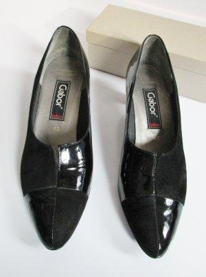 Gabor Lack Pumps Schuhe 37 Schwarz Samt Karo Leder 4,5 Rockabilly Trachten Hochfront