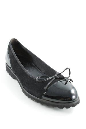 Gabor Ballerina di pelle verniciata nero effetto bagnato