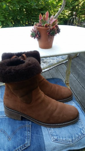 Gabor neuwertige Lammfell Boots Cognac Stollenprofil warme Winter Stiefelette Gr. 42 41,5