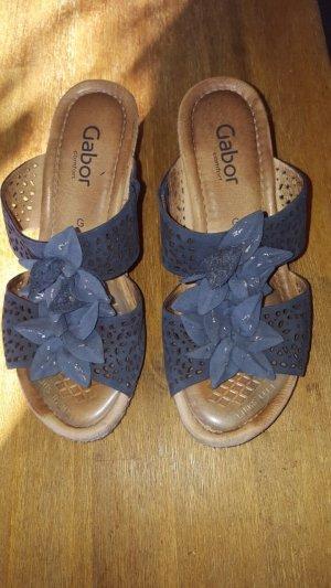 Gabor Pantolette, blau mit Blumen, Gr37.5, Echtleder, Guter Zustand