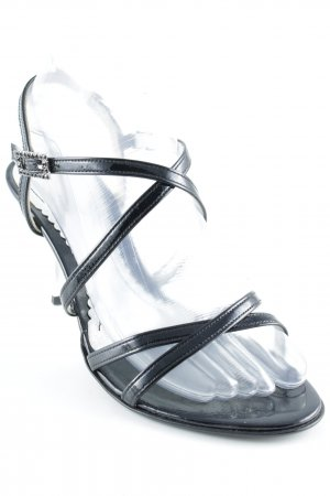 Gabor Décolleté spuntata nero-argento elegante