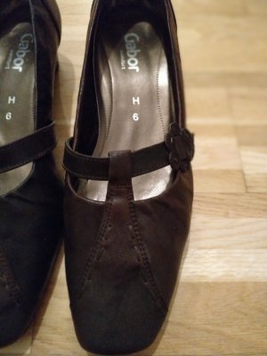 Gabor Pumps Dunkelbraun Blumenapplikation