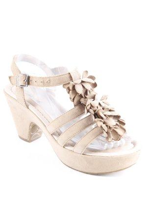 Gabor Riemchen-Sandaletten beige Blumenmuster Romantik-Look