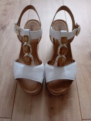 Gabor Wedge Sandals white-gold-colored