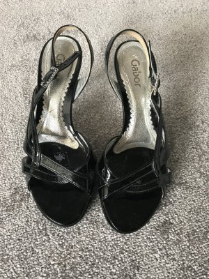 Gabor Strapped High-Heeled Sandals black-silver-colored